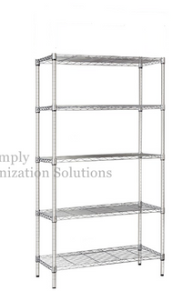 "5-layer chrome-plated steel wire shelf unit, metal shelf18""x24""x70"""