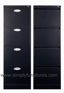 Vertical office file cabinet anti tile designing 4 drawers black