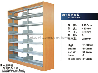Library Bookshelf Double Sides Single Pole