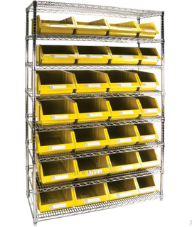 High Grade Plastic Storage Bins Wire Shelving Industrial Application With 8 Shelves