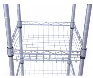 DIY Home Storage Wire Basket Shelving Silver Epoxy Coated
