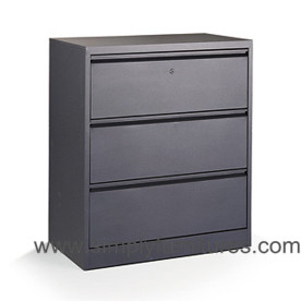 3 drawers office steel lateral file cabinet grey