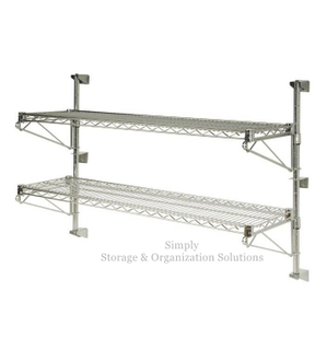 Chrome Wall Mounted Metal Wire Shelving with 2 Shelves