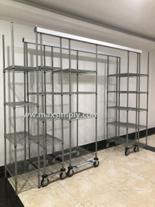 High density top track mobile chrome wire shelving unit for hospital medical use