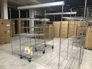 Compact sliding track shelving with double deep chrome wire shelving unit
