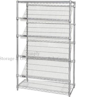 Six Tiers Slanted Chrome Wire Shelving