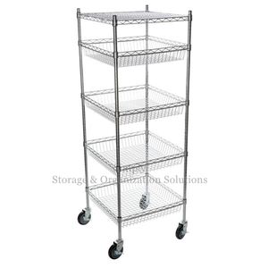 5 Layers Grocery Display Mobile Metal Wire Rack Baskets Shelving Units