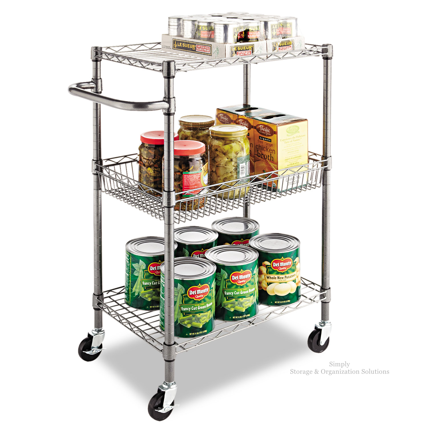 "3-Tier Steel Wire Multipurpose Basket Chrome Shelf Adjustable Storage Utility Cart 21""W X 14""D X 36""H"