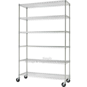 6 Tier Chrome Wire Rack Mobile Storage Shelving Biological Laboratory