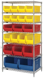 Wire Shelving with 20 Plastic Bins for Restaurant Kitchen Organizer