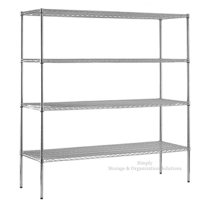 "4 Shelf Chrome Steel Shelving Unit Beverage Snacks Storage Organizer Rack 14"" X 42"""