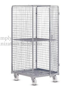 Lockable Wire Mesh Roll Container with Wheels for Merchandises Storage