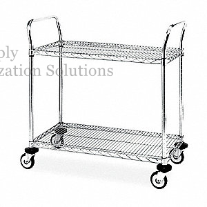 "Restaurant Service 2-Layer Wire Trolley Cart 30""W X 14""D X 38""H"