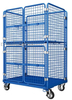 Blue Powder Coating Nestable Roll Cage with Door for Supermarket