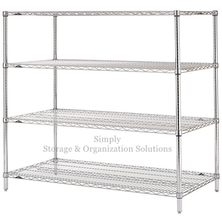 4 Tier Standing Display Rack with Wheels Wire Shelving Retail Store Storage